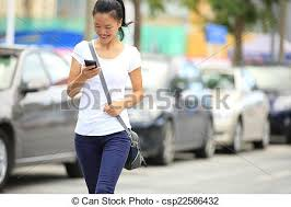 woman cell phone parking lot