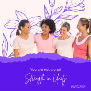 group of smiling women depicting strength in unity.
